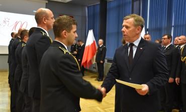 Uroczysta zbiórka w Komendzie Wojewódzkiej PSP